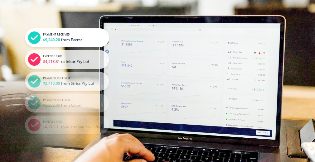 Cloud finance software showing secure transactions.