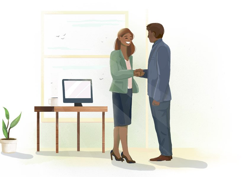 Illustration of two colleagues shaking hands.