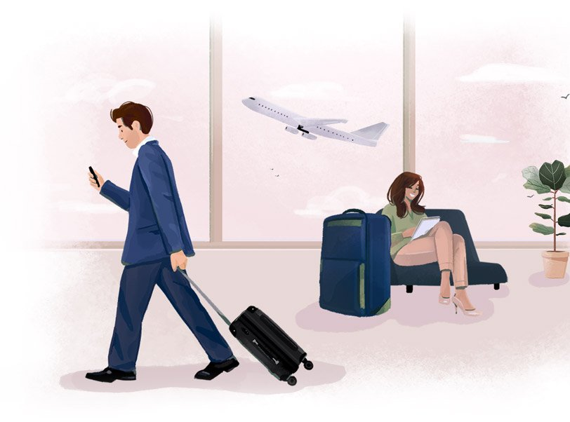 Illustration of travellers in business attire at an airport.