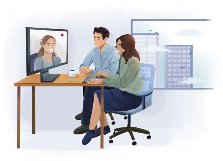 Illustration of three colleagues in a conference call.