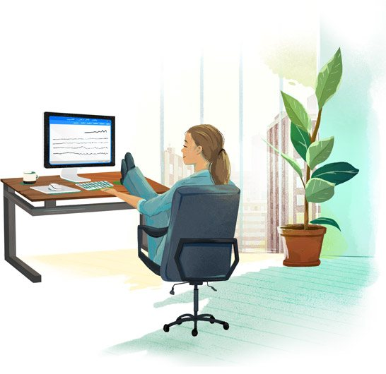Illustration of a woman working at her desk.