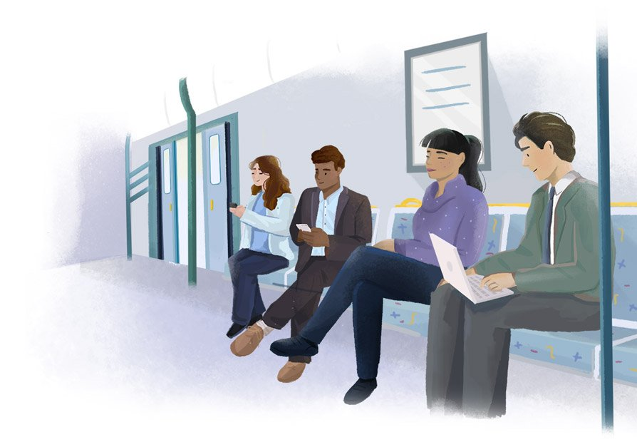 Illustration of people working on their laptops and phones on the train.
