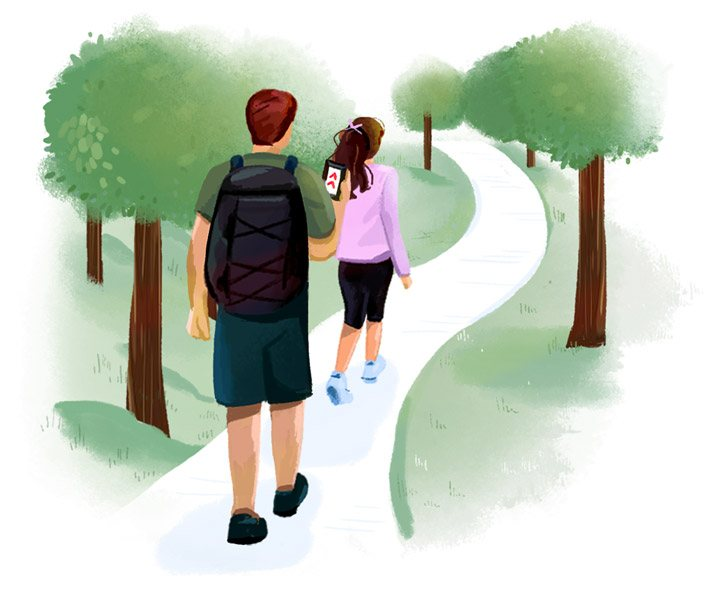 Illustration of two people walking along an outdoor path.
