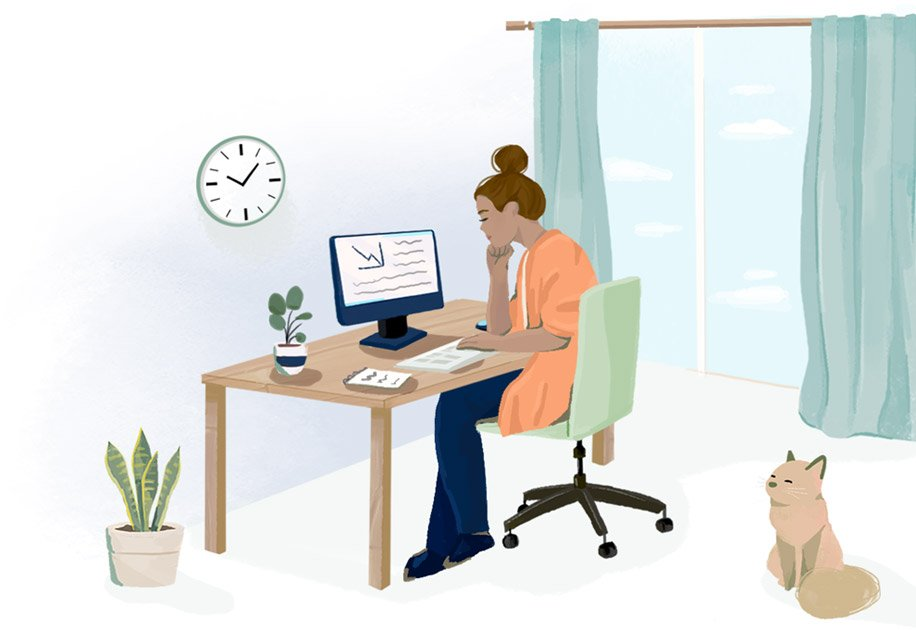 Illustration of a woman working from home.