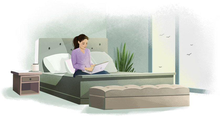 Illustration of a woman working on her laptop in bed.
